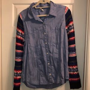 Free People jean button down with sweater sleeves